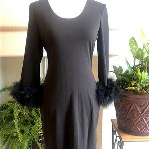 Calvin Klein Black Dress with Feather Trim